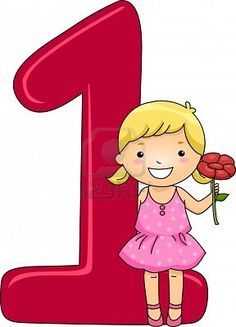 School Girl Holding 1 Flower With Number One Posters, Art Prints by - Interior Wall Decor Abc Preschool, Numbers Preschool, Learning Numbers, First Day School, Pre School, Math Sheets, Little Einsteins, Teaching Aids, Alphabet And Numbers