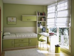 Bedroom, Outstanding And Cute Teenage Girl Bedroom Ideas With Green Theme Modern Green Bookshelf Bed With Green Cabinet And Drawers Simple M...