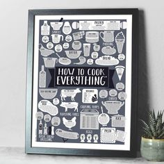 How To Cook Everything Kitchen Print by Paper Plane, the perfect gift for Explore more unique gifts in our curated marketplace. Kitchen Posters, Kitchen Prints, Kitchen Art, Kitchen Ideas, Tasty Kitchen, Kitchen Inspiration, Kitchen Interior, Kitchen Decor, X 23