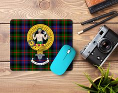 Rubber mousemat with the Murray of Atholl Clan Crest and Tartan - only from ScotClans