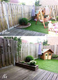 Create a border in your small garden, to make it look bigger. Plaats een horizontale plantenbak in je kleine tuin. Hierdoor lijkt het groter.
