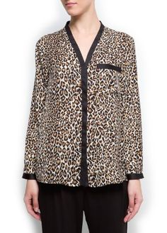 Mango Women's Animal Print Blouse - Nex MANGO. $59.99
