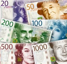 Our currency SEK = Svensk Krona = Swedish Crown. These are the old bills, they don't look like this any more.