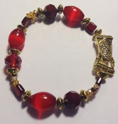 Red and Gold Magnet Clamp Beaded Bracelet by TreasuresbyCam