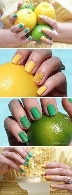 happy manicure mondays - lemon lime caviar nails #nailart fab-fatale-manicure-mondays