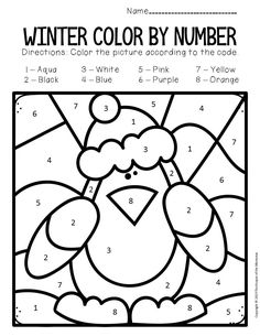 Color by number Winter preschool worksheets - Preschool Activities Preschool Colors, Numbers Preschool, Preschool Worksheets, Music Worksheets, Art Therapy Activities, Kids Learning Activities, Toddler Activities, Counting For Kids, Early Math