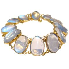 Antique 18K Yellow Gold Victorian Sequential Moonstone Bracelet at 1stdibs