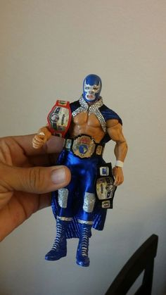 custom 7 inches blue demon. mil mascaras  figure lucha libre Wwe Action Figures, Custom Action Figures, Nwo Wrestling, Luchador Mask, Rick And Morty Tattoo, Mexican Wrestler, Eddie Guerrero, Wwe Toys, Kids Costumes Boys
