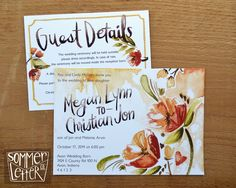 This is my friend, Kyle Sommer's new company! She does lovely work. Follow her and buy her stuff!  Fall floral wedding invitations | Sommer Letter Co. | Unique wedding invitations | Hand-painted wedding invitations | Watercolor stationery | Indiana wedding invitations