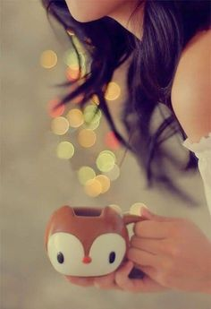cute girl with coffee cup - Stylish DP's And Covers For FaceBook