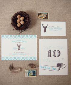 Antler + Deer Wedding Save the Date via @HoneyBeeInvites