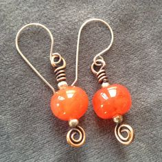 Wire Wrap Earrings..Look so tasty..tangerine is the big color for Spring/Summer 2012!