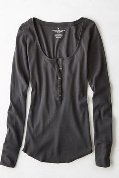 AEO Long Line Ribbed Henley T-Shirt, Women's, Size: Medium, Ebony