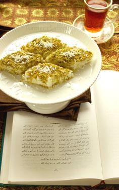 Turmeric & Saffron: Loze Nargil - Persian Coconut Sweets with Rosewater and Pistachios for Nowruz Arabic Dessert, Arabic Sweets, Arabic Food, Ramadan Sweets, Iranian Cuisine, Iranian Food, Persian Desserts, Persian Recipes, Iranian Desserts