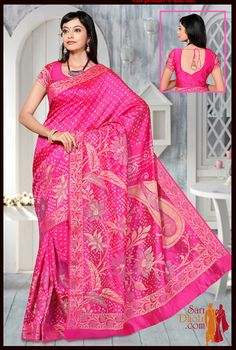 Beautiful Pink color #Bandhnisaree #silksaree #Kanchipuramsarees @ http://www.saridhoti.com