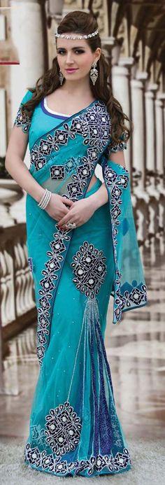 $134.42 Blue Net Wedding Lehenga Style Saree 22247