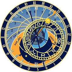 'Prague Astronomical Zodiac Clock' Clock by obviouslogic - numerologychart Taurus Man, Aries Men, Gemini, Aquarius Astrology, Scorpio Moon, Prague Astronomical Clock, Gustav Jung, Numerology Numbers, Astrology Numerology