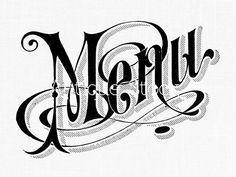 Menu Word Text Old Image - Menu Text Digital Collage Sheet - Vintage Logo Illustration by Antique Stock