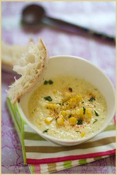 // Corn Soup with Fresh Herbs and Paprika