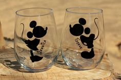 Mickey and Minnie Mouse Stemless Wine Glasses. Engagement or Wedding Gift/Bride and Groom on Etsy, $20.00