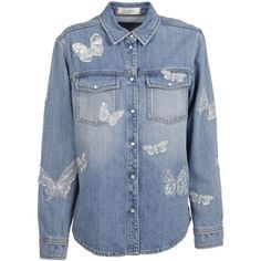 Valentino: Denim Butterfly Appliqu? Denim Shirt ($1,640) ❤ liked on Polyvore featuring tops, denim, denim top, butterfly top, butterfly shirt, valentino shirt and butterfly print top