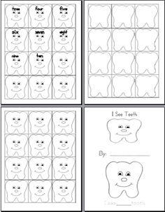 23 Preschool Healthy Teeth Dental Flashcards.