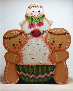 Hand Painted SHELF SITTER Gingers with a Cupcake and Snowman #Primrosefields #HandPainted