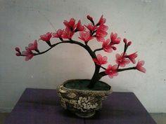 Cherry nylon flowers