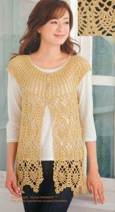 Crochet vest or bolero CARAMELO ARDIENTE es... LA PRINCESA DEL CROCHET: chaleco piñitas-crochet japonés
