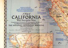 Mapa de California. National Geographic Magazine. 1954. Mapa de California con notas descriptivas, como era en 1954. Escala 20.6 millas por pulgada. En perfectas condiciones. Mide 74 x 95 cm. En detalle Los Angeles, San Francisco, la region de la Bahia San Francisco, San Diego, y el Valle Yosemite con el parque nacional. En ingles. En la foto se lo ve doblado, tal como vino con la revista Nat Geo. luciar.rosario@gmail.com