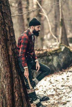 Patrik Jonasson - full thick black beard very handsome beards bearded man men mens' style lumberjack plaid winter snow Mens Fashion Blazer, Mens Fashion Sweaters, Men's Fashion, Body, Streetwear, Outfits, Manly Man, Rough Hands, Country Boys