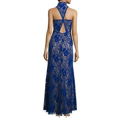 Tadashi Shoji Sleeveless Velvet Floral Lace Gown ($468) found on Polyvore featuring women's fashion, dresses, gowns, blue, blue gown, floral gown, floral lace gown, blue lace dress and velvet dress