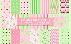 Cupcake Party Digital Paper  Party Decor DIY Invitations