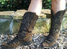 Distressed Womens Corral Size 10 Black Sequin Brown Leather Western Cowboy Boots