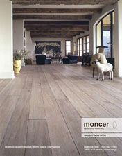 Moncer Specialty Flooring :: Jordan above Cave Springs  	 Driftwood Rift and quarter sawn white oak is bleached, blackened and planed by hand. Each board is shaped using authentic tools by artisan craftsman