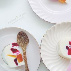 """""""Kaleidoscope dessert ( a friend of my family makes this in a jelly version but I have reinterpreted it into a coconut, fresh mango and raspberry style -…"""""""