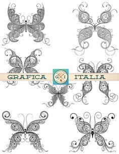 Butterfly Clip Art - Digital Clipart Butterflies Instand Digital Download Scrapbooking Kit, craft supplies, colorbook doodle art  by graficaitalia