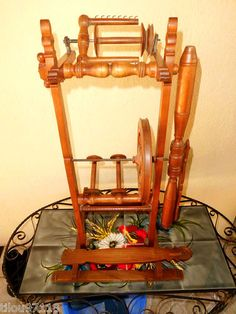 Antique spinning wheel, wild cherry wood. Provence, France
