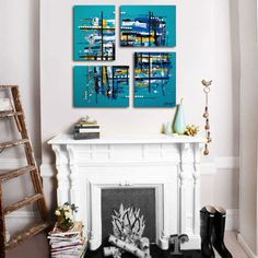 """Original 4 piece abstract painting. 26x26"""". Unique geometric turquoise painting. Large painting. Canvas art. Blue painting."""
