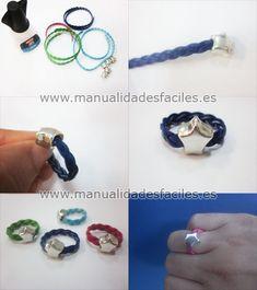 Como hacer anillos de cordón trenzado.