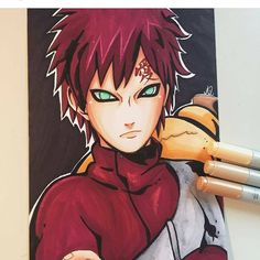 Gaara is finished! After so much problems😂 - I had to buy a red marker completely different from my copic 😥 - - Well this is not the result I wanted but I hope you like it ♥️ - - Anime Chibi, Anime Naruto, Otaku Anime, Naruto Shippuden Sasuke, Itachi, Boruto, Naruto Drawings, Naruto Sketch, Anime Drawings Sketches