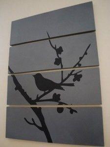 Silhouette vogel op hout