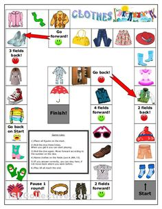 clothes board game to practice clothes vocabulary also with singular ...