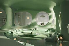 Retro Interior Design, Home Interior, Interior And Exterior, Exterior Design, Futuristic Interior, Retro Futuristic, Futuristic Architecture, Organic Architecture, Interior Architecture