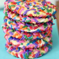 Exceptional cookies with little effort: Rainbow Sprinkle Cream Cheese Cookies #cafeo #cookies #idea #cooking #snack #sprinkle #rainbow #hongkong #hk #colourful