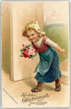 Künstlerkarte Namenstag Mädchen mit Blumen: Ansichtskarten-Center Onlineshop