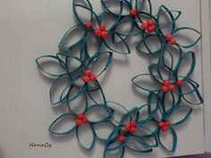wreath of paper rolls with decorations from the salty dough (inspiration from Pinterest)