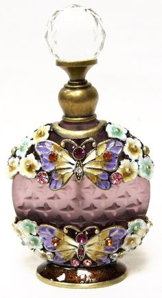 "Purple Bottle W/Purple & Yellow Butterflies 3.5"" High"