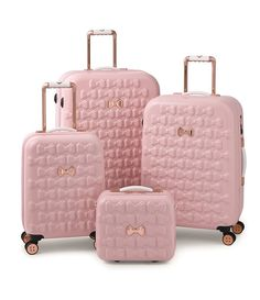 Take off in feminine style with the Moulded Beau suitcase from Ted Baker. Adorned with moulded bows, this suitcase features bespoke Ted Baker hardware in a rose gold finish and four smooth rolling spi - The Luxury Mindset For Success Pink Luggage, Cute Luggage, Chanel Luggage, Large Suitcase, Pink Suitcase, Suitcase Decor, Suitcase Table, Suitcase Storage, Suitcase Packing