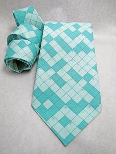 Men's Necktie - Turquoise Crossword
